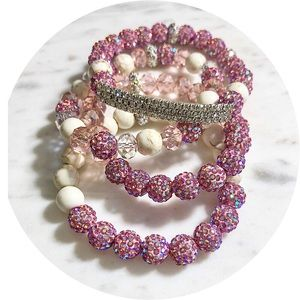 Jewelry - 3 Piece Howlite Austrian Crystal Beaded Bracelets
